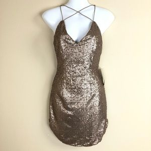 Tobi Golden Sequin Sexy Strappy Mini Evening Dress